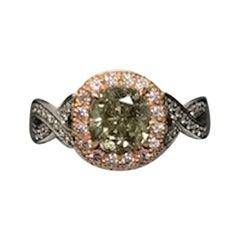 """Chameleon"" Diamond GIA 1.41 Carat Cushion with Pink Diamonds Platinum Ring"