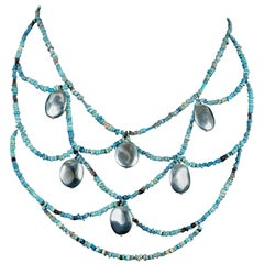 Egyptian Beads Webbed Necklace and Earrings