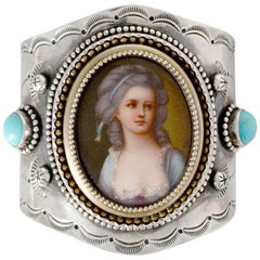 Jill Garber Antique French Portrait with Turquoise Sterling Cuff Bracelet