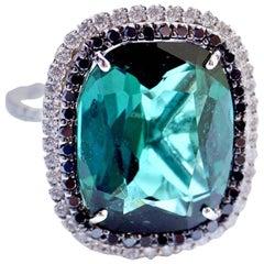 9.06 Carat Green Tourmaline and Diamond Shimmee Ring