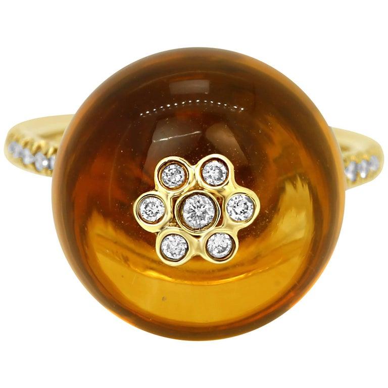 Citrine Diamond Globe Gold Ring