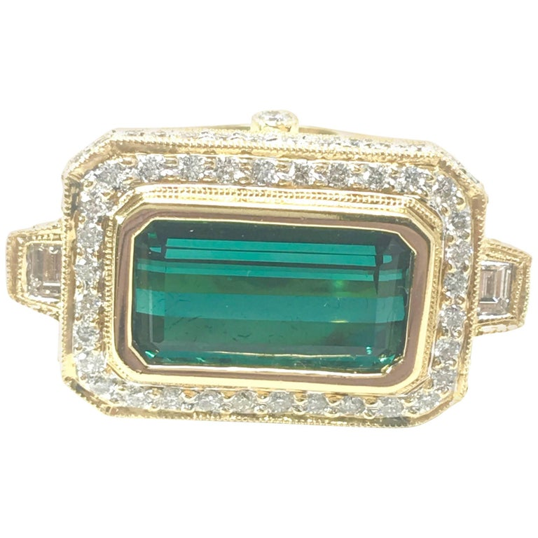 6.50 Carat Chrome Green Emerald Cut Tourmaline