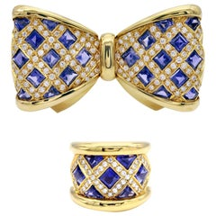 Diamond and Iolite Gold Bowtie Brooch and Ring Set