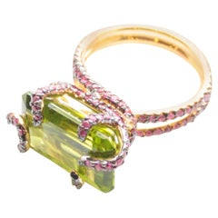 18 Karat Rose Gold Peridot and Pink Sapphire Rope Ring