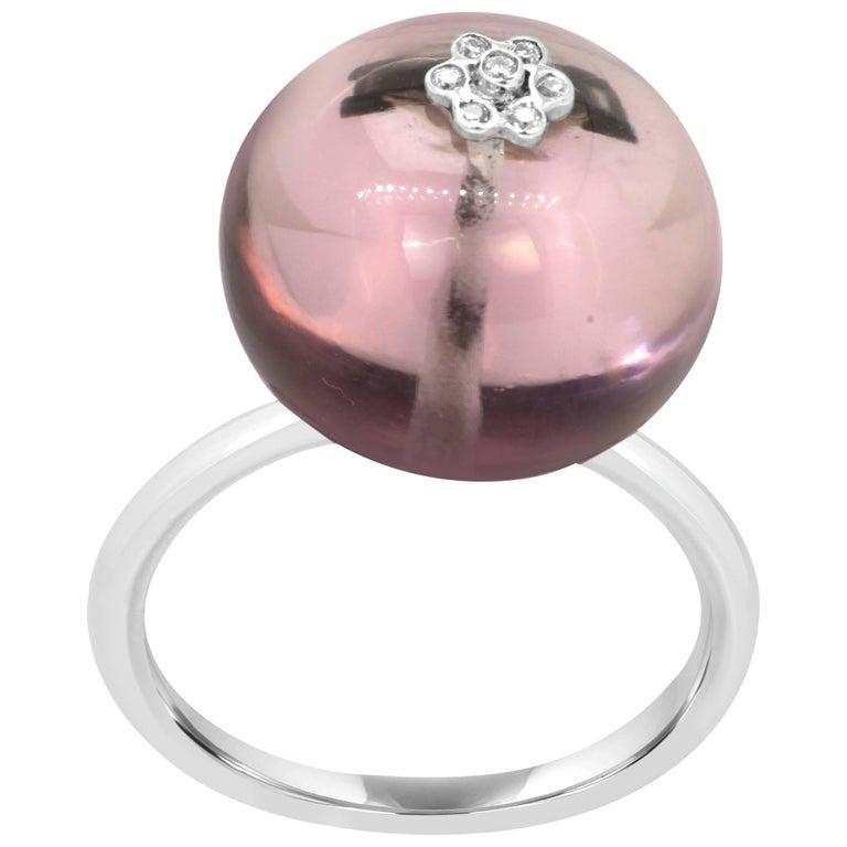 Amethyst Diamond Gold Globe Ring