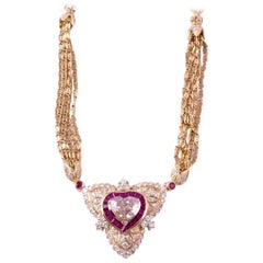 Regal Diamond Heart Necklace with Ruby and Diamonds in 18 Karat Gold