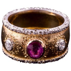 Buccellati Ruby and Diamond Ring in 18 Karat Gold