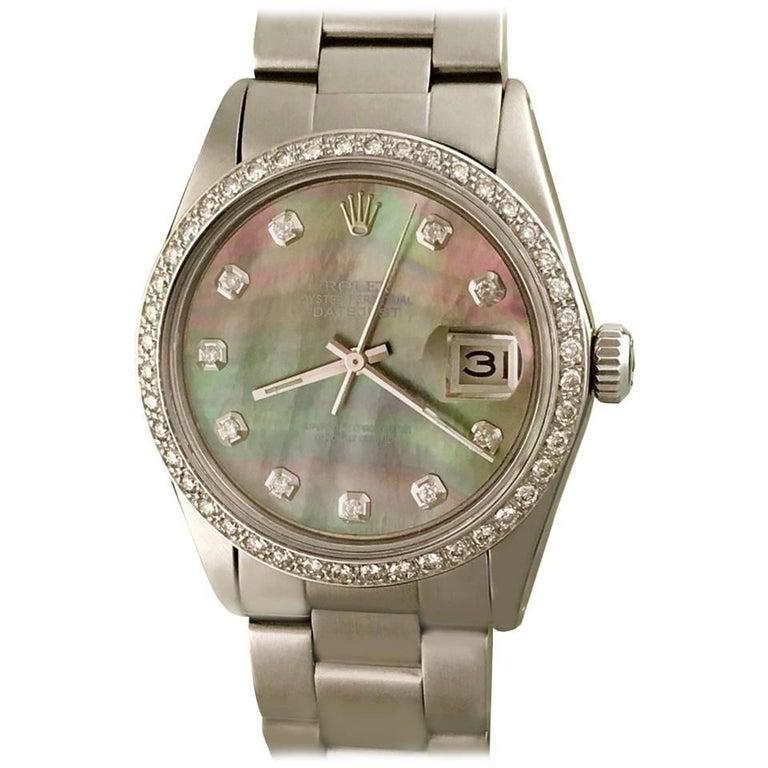 Rolex Stainless Steel Diamond Bezel Datejust Automatic Wristwatch Ref 16014