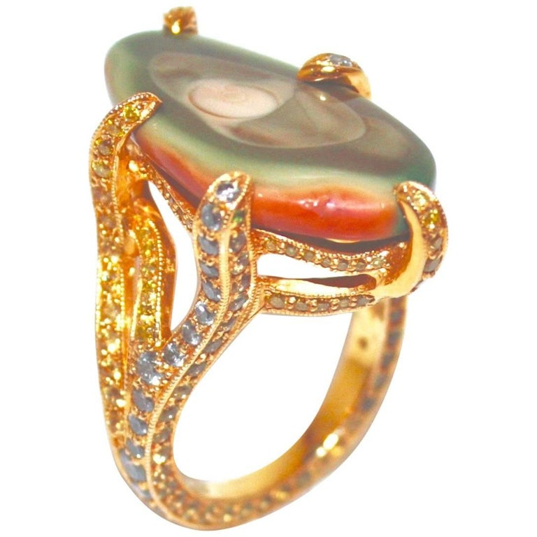 18 Karat Yellow Gold Imperial Jasper, Multicolored Gemstones and Diamond Ring For Sale