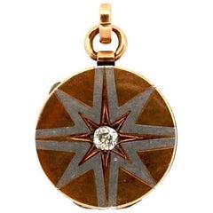 Antique Victorian Rose and White Gold Diamond Starburst Locket Pendant