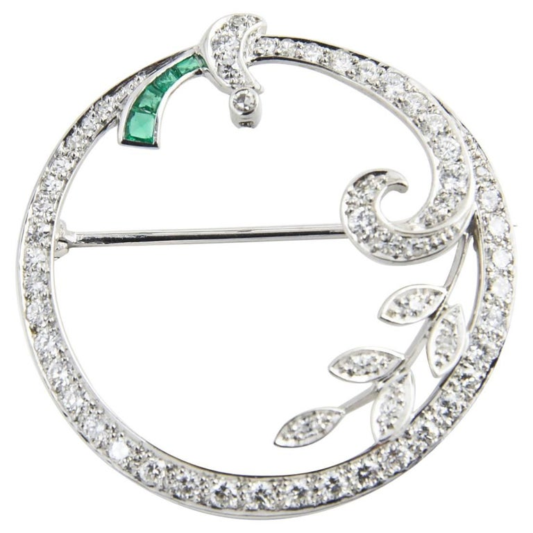 Art Deco Emerald and Diamond Platinum Circle Brooch