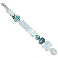 Platinum & 18K Aquamarine and Multicolored Gemstone and Diamond Trinket Bracelet