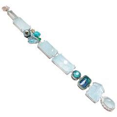 Aquamarine and Multicolored Gemstone and Diamond Trinket Bracelet
