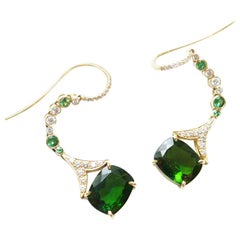 Sharon Khazzam Chrome Diopside, Tsavorite and White Diamond Lassa Eardrops