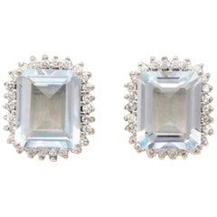 7.33 Carat Emerald-Cut Aquamarine and Diamond Halo Earrings