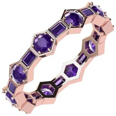 Natural Purple Amethyst Eternity Band Conceived in 18 Karat Rose Gold