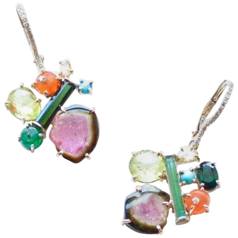 Sharon Khazzam 18K Yellow Gold Multicolored Gemstone and Diamond Penny Eardrops For Sale