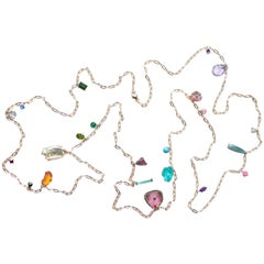 18 Karat Rose Gold Multicolored Gemstone and Diamond Baby Chain