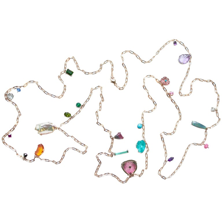 Multicolored Gemstone and Diamond Baby Chain