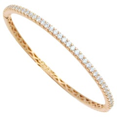 18 Karat Odelia 3.40 Carat Diamond Eternity Bangle Bracelet