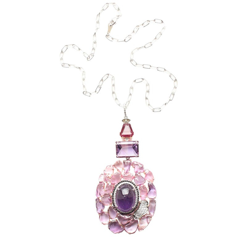 Amethyst, Pink and Purple Sapphire, Spinel and Diamond Joanie Necklace For Sale