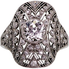 Diamond and Platinum Ladies Art Deco Ring