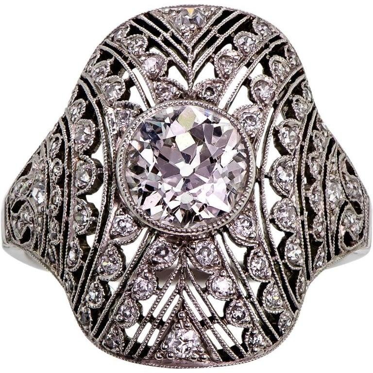 Diamond and Platinum Ladies Art Deco Ring