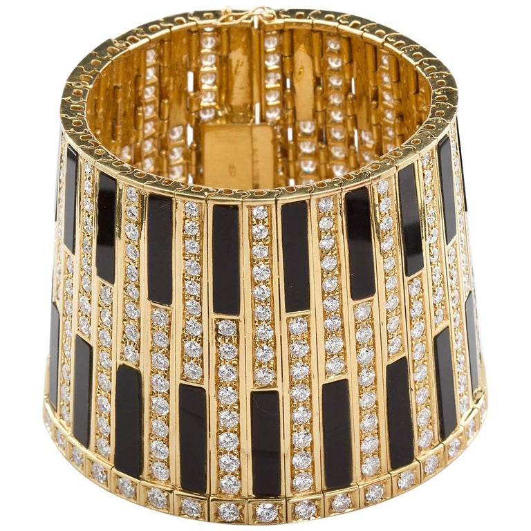 Egyptian Revival Gold Onyx Wide Bangle Cuff 32 Carats Diamonds