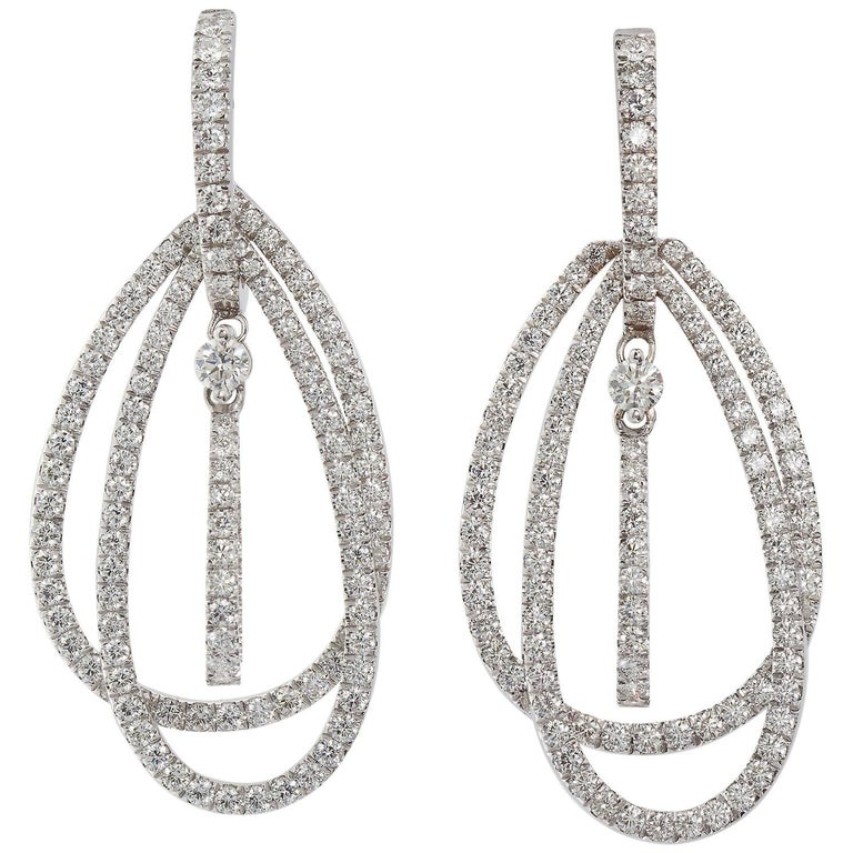 Diamond in White Gold Tear Shape Three-Hoop Dangle Earrings 5 Carat