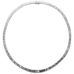 Oscar Heyman Diamond Platinum Graduated Baguette Necklace