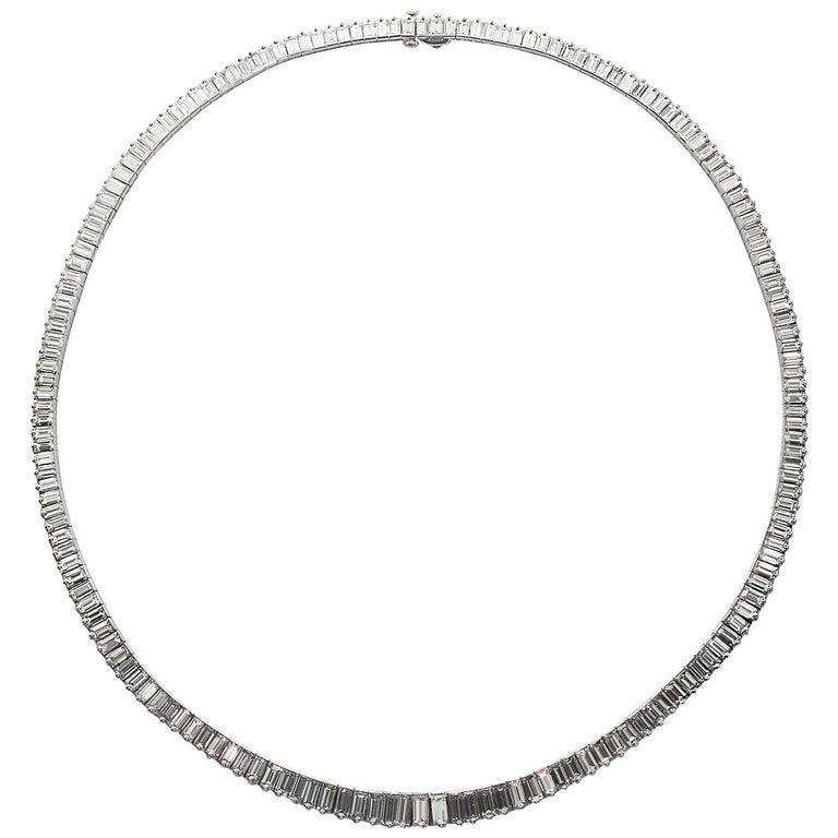 Oscar Heyman Diamond Platinum Graduated Baguette Necklace