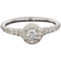 White Gold 0.24 Carat Round Diamond Halo Engagement Ring