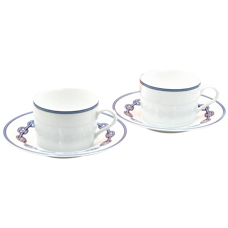 Hermes Chaine D'Ancre Porcelain Cup and Plate Set For Sale
