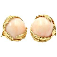 Vintage Angel Skin Coral Earrings 14 Karat Yellow Gold