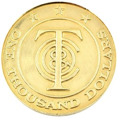 """Tiffany & Co. """"Tiffany Money"""" $1,000 Coin 18 Karat Yellow Gold Ref 748"""