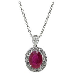 1.74 Carat Ruby and Diamond Pendant Necklace