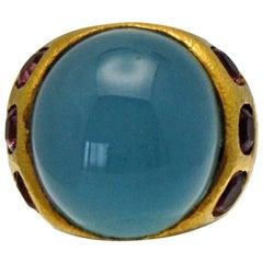 Aquamarine Cabochon 33.97 Carat Pink Tourmalines Ring