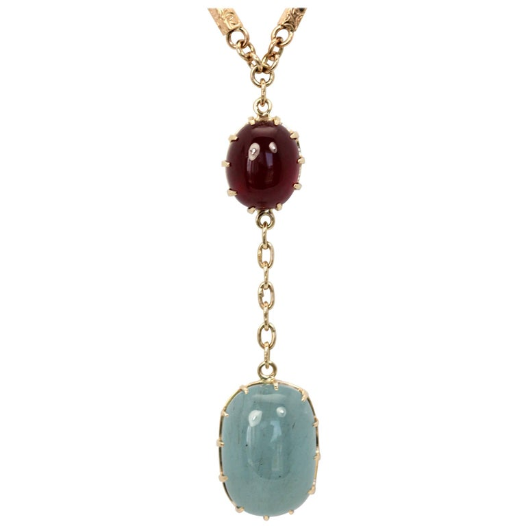 Aquamarine Cabochon Lariat Necklace