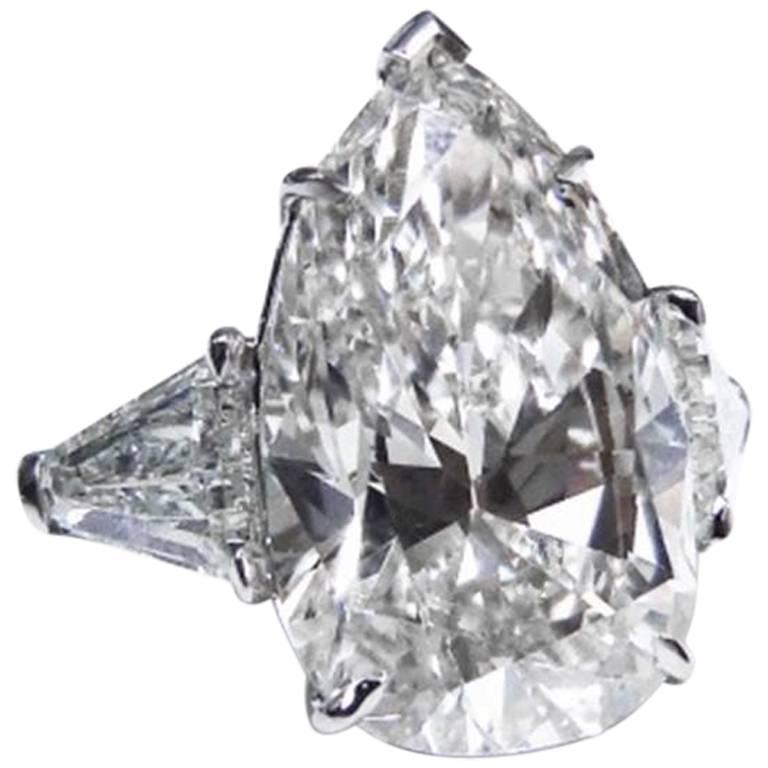 GIA Certified 10.87 Carat Pear Shape Platinum Engagement Ring