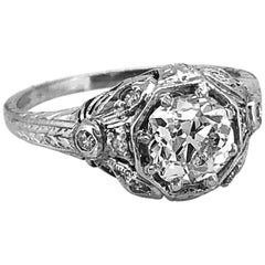 .85 Carat Diamond Antique Engagement Ring Platinum