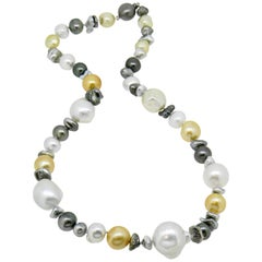 South Sea, Tahitian & Keshi Multicolored Pearl Necklace
