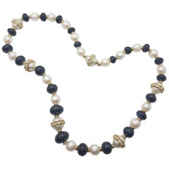 Pearl and Sapphire Necklace Set in Yellow Gold and Diamonds