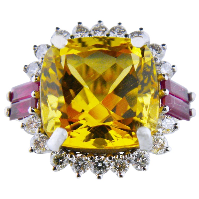 GIA Certified 9.68 Carat Cushion Cut Golden Beryl Diamond Ruby Cocktail Ring