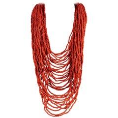 Antique Victorian Long Coral Necklace