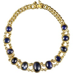 Antique Victorian Cabochon Sapphire Bracelet 18 Carat Gold