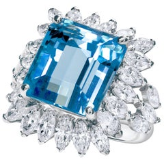 11.48 Carat Sky Blue Aquamarine and Diamond Halo Cocktail Ring