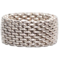 Tiffany & Co. Somerset Sterling Silver Mesh Chain Link Ring