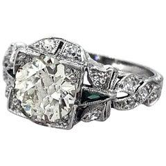 1.40 Carat Diamond and Emerald Antique Engagement Ring Platinum