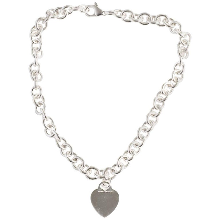 Tiffany & Co. Heart Charm Sterling Silver Choker Necklace