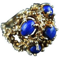 14 Karat Gold Cocktail Ring Set with Lapis Lazuli, circa 1970